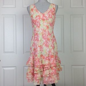 Ann Taylor Loft Sleeveless Floral Ruffle Dress 6